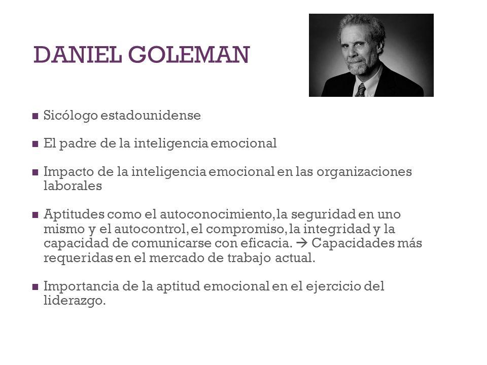 DANIEL GOLEMAN Sicólogo estadounidense El padre de la inteligencia emocional Impacto de la inteligencia emocional en las organizaciones laborales Apti