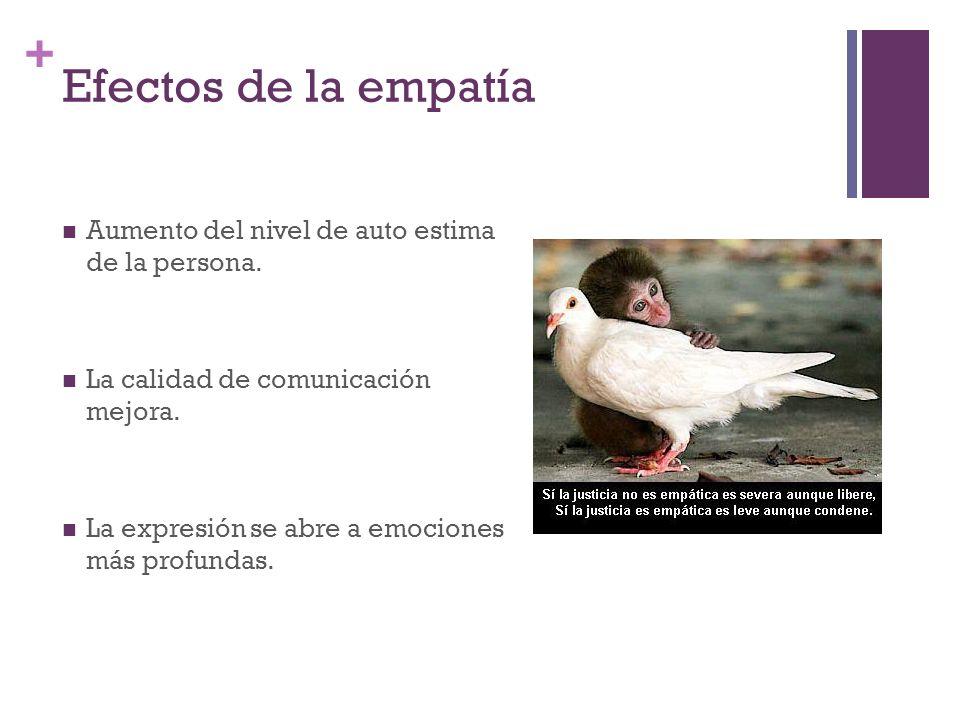 + Efectos de la empatía Aumento del nivel de auto estima de la persona. La calidad de comunicación mejora. La expresión se abre a emociones más profun