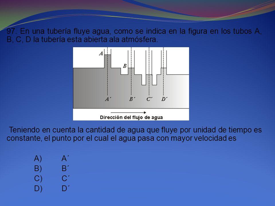97. En una tubería fluye agua, como se indica en la figura en los tubos A, B, C, D la tubería esta abierta ala atmósfera. Teniendo en cuenta la cantid