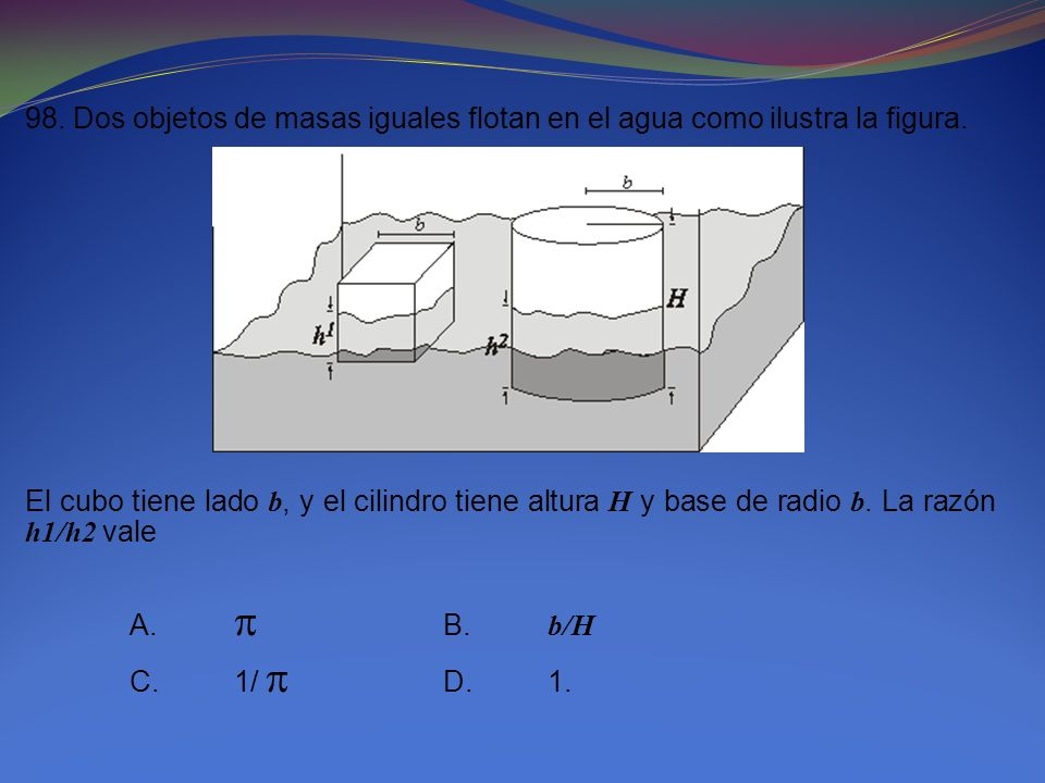 98. Dos objetos de masas iguales flotan en el agua como ilustra la figura. El cubo tiene lado b, y el cilindro tiene altura H y base de radio b. La ra