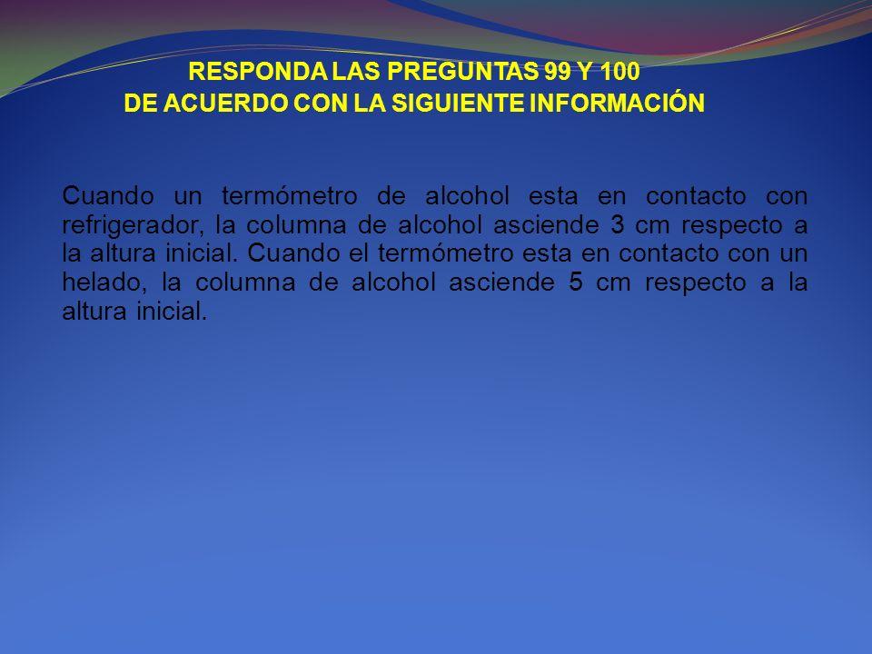 RESPONDA LAS PREGUNTAS 99 Y 100 DE ACUERDO CON LA SIGUIENTE INFORMACIÓN Cuando un termómetro de alcohol esta en contacto con refrigerador, la columna