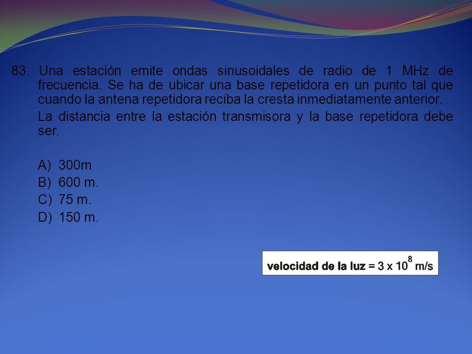 83. Una estación emite ondas sinusoidales de radio de 1 MHz de frecuencia. Se ha de ubicar una base repetidora en un punto tal que cuando la antena re