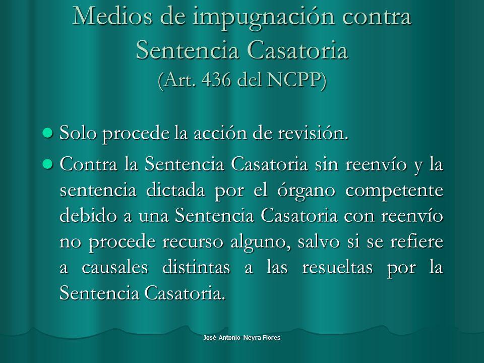 José Antonio Neyra Flores Medios de impugnación contra Sentencia Casatoria (Art. 436 del NCPP) Solo procede la acción de revisión. Solo procede la acc