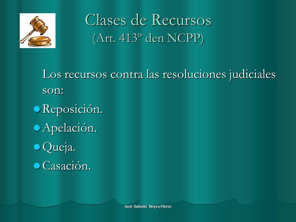 José Antonio Neyra Flores Clases de Recursos (Art. 413º den NCPP) Los recursos contra las resoluciones judiciales son: Reposición. Reposición. Apelaci