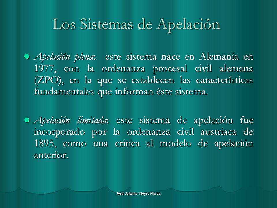 José Antonio Neyra Flores Los Sistemas de Apelación Apelación plena: este sistema nace en Alemania en 1977, con la ordenanza procesal civil alemana (Z