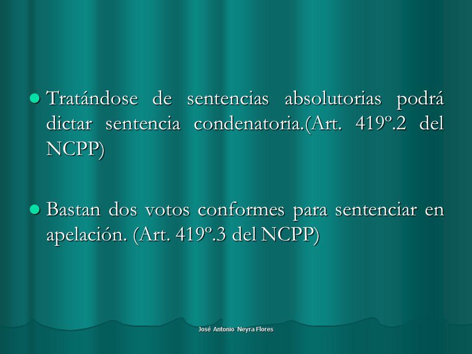 José Antonio Neyra Flores Tratándose de sentencias absolutorias podrá dictar sentencia condenatoria.(Art. 419º.2 del NCPP) Tratándose de sentencias ab