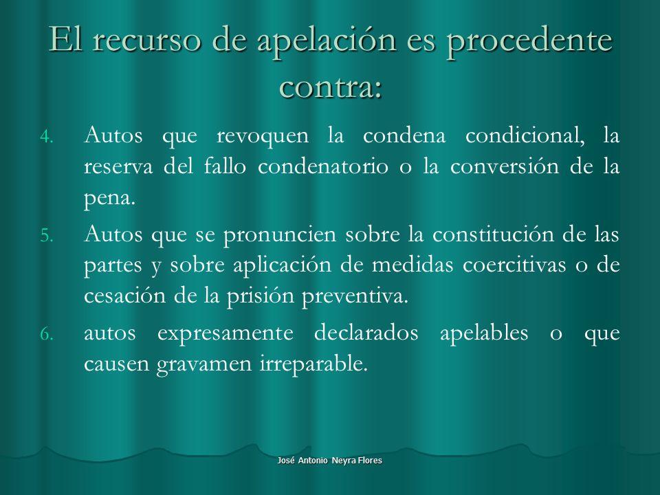 José Antonio Neyra Flores El recurso de apelación es procedente contra: 4. 4. Autos que revoquen la condena condicional, la reserva del fallo condenat