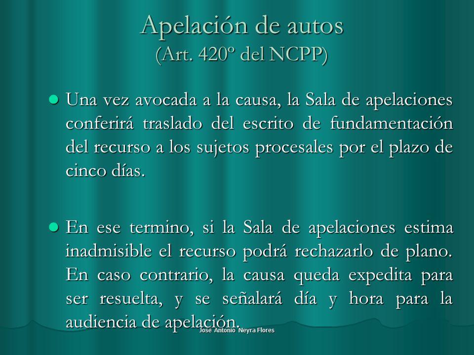José Antonio Neyra Flores Apelación de autos (Art. 420º del NCPP) Una vez avocada a la causa, la Sala de apelaciones conferirá traslado del escrito de