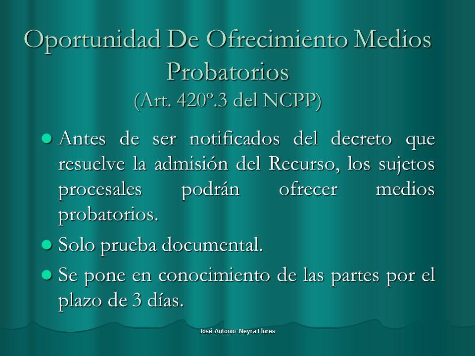José Antonio Neyra Flores Oportunidad De Ofrecimiento Medios Probatorios (Art. 420º.3 del NCPP) Antes de ser notificados del decreto que resuelve la a