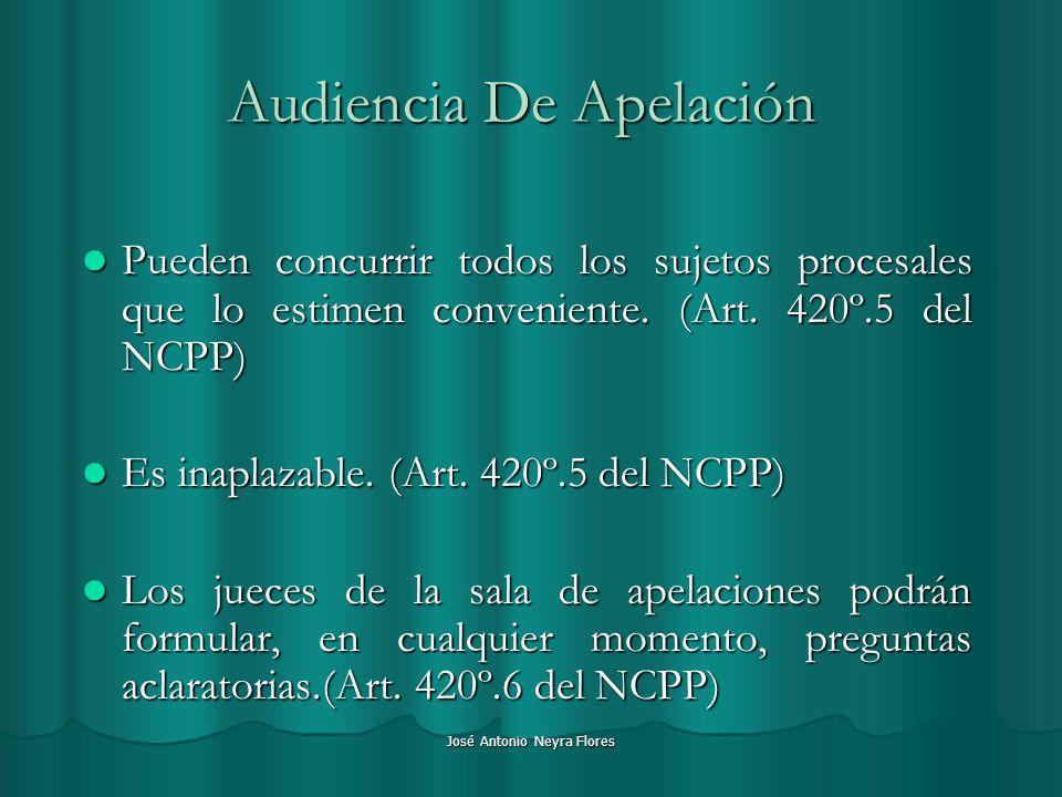 José Antonio Neyra Flores Audiencia De Apelación Pueden concurrir todos los sujetos procesales que lo estimen conveniente. (Art. 420º.5 del NCPP) Pued