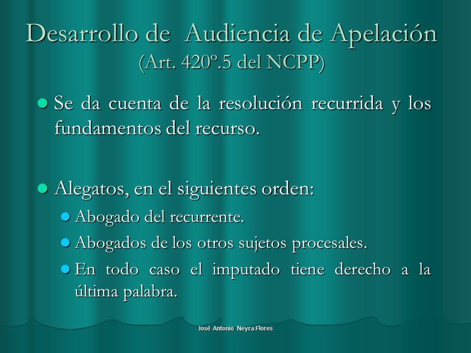 José Antonio Neyra Flores Desarrollo de Audiencia de Apelación (Art. 420º.5 del NCPP) Se da cuenta de la resolución recurrida y los fundamentos del re