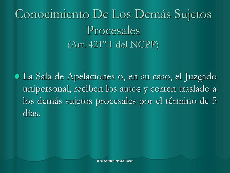 José Antonio Neyra Flores Conocimiento De Los Demás Sujetos Procesales (Art. 421º.1 del NCPP) La Sala de Apelaciones o, en su caso, el Juzgado unipers