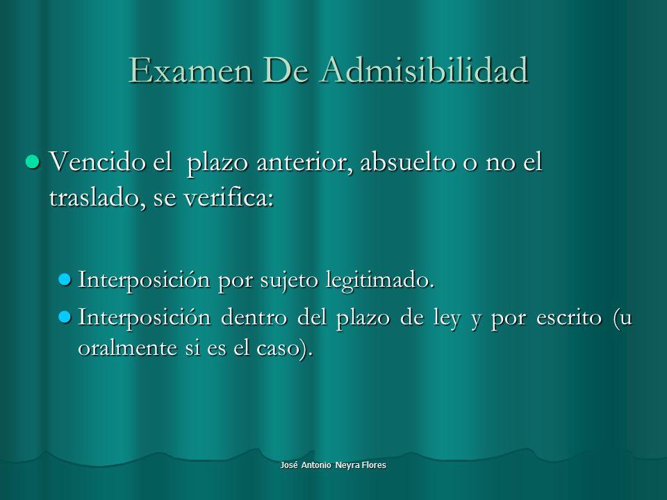 José Antonio Neyra Flores Examen De Admisibilidad Vencido el plazo anterior, absuelto o no el traslado, se verifica: Vencido el plazo anterior, absuel