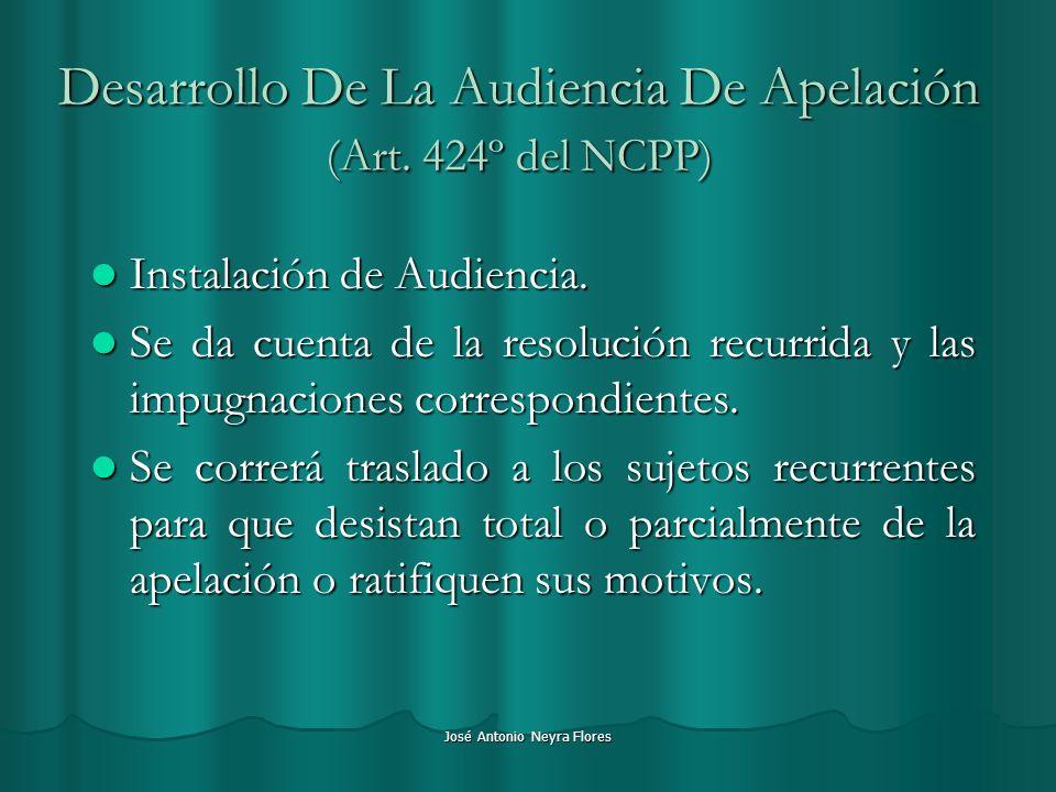 José Antonio Neyra Flores Desarrollo De La Audiencia De Apelación (Art. 424º del NCPP) Instalación de Audiencia. Instalación de Audiencia. Se da cuent