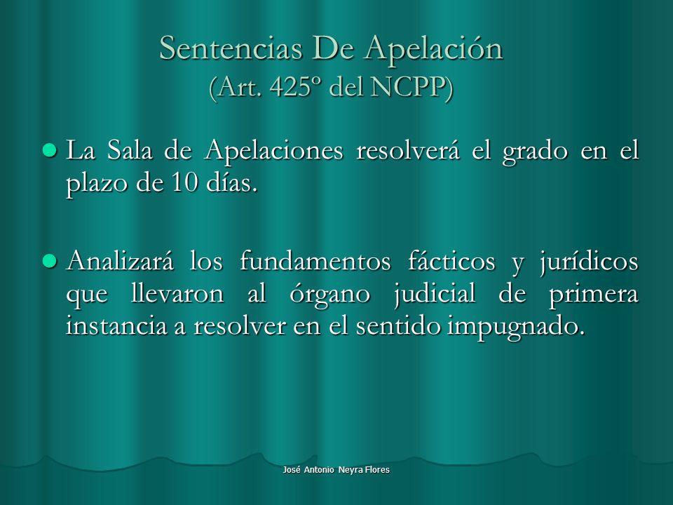 José Antonio Neyra Flores Sentencias De Apelación (Art. 425º del NCPP) La Sala de Apelaciones resolverá el grado en el plazo de 10 días. La Sala de Ap