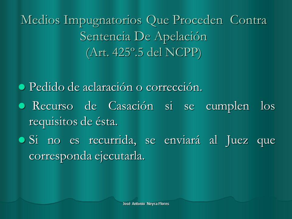 José Antonio Neyra Flores Medios Impugnatorios Que Proceden Contra Sentencia De Apelación (Art. 425º.5 del NCPP) Pedido de aclaración o corrección. Pe