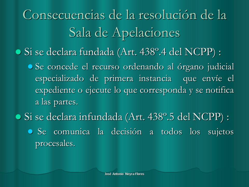 José Antonio Neyra Flores Consecuencias de la resolución de la Sala de Apelaciones Si se declara fundada (Art. 438º.4 del NCPP) : Si se declara fundad