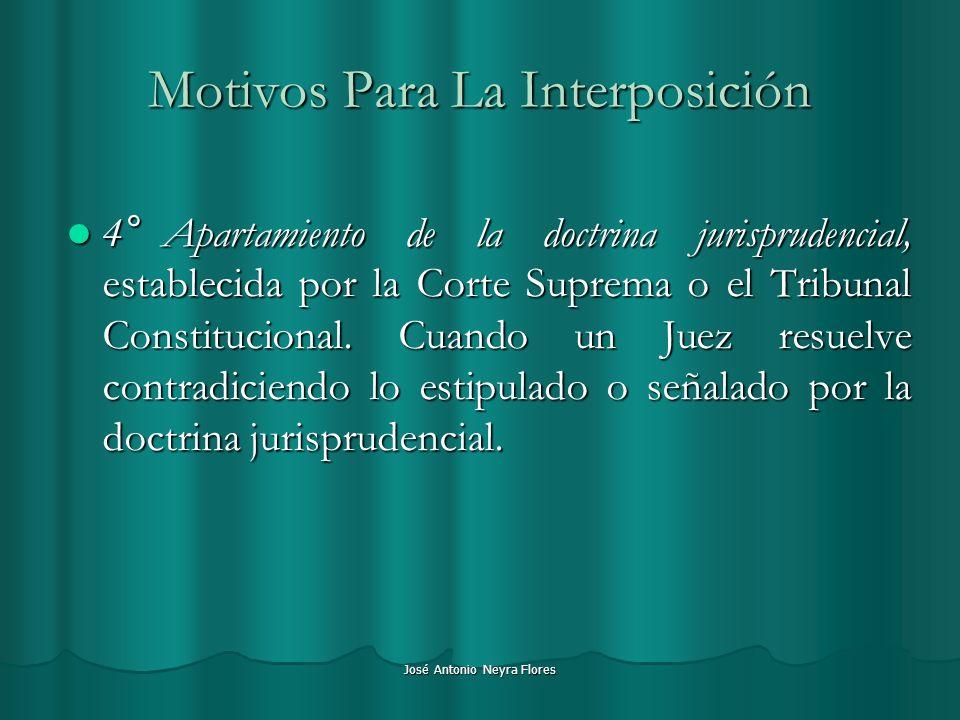 José Antonio Neyra Flores Motivos Para La Interposición 4°Apartamiento de la doctrina jurisprudencial, establecida por la Corte Suprema o el Tribunal