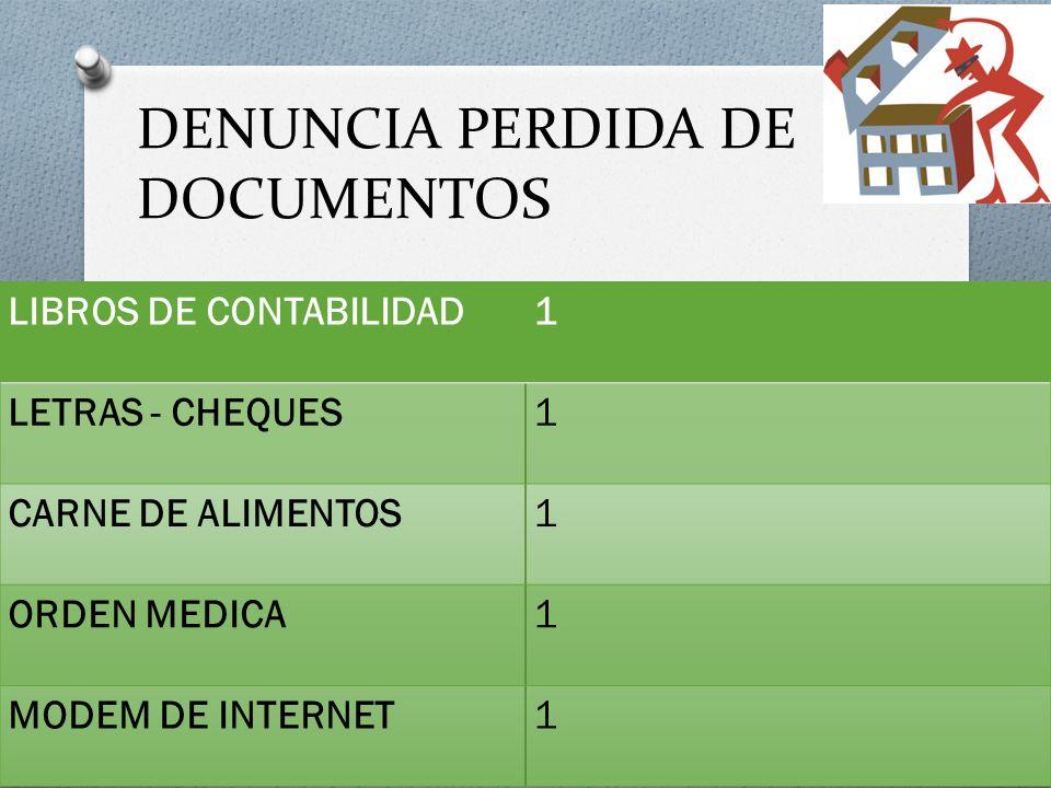 DENUNCIA PERDIDA DE DOCUMENTOS LIBROS DE CONTABILIDAD1 LETRAS - CHEQUES1 CARNE DE ALIMENTOS1 ORDEN MEDICA1 MODEM DE INTERNET1