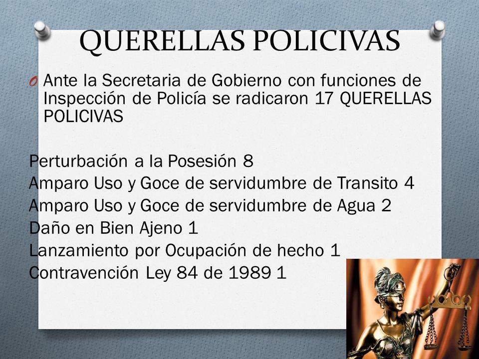 QUERELLAS POLICIVAS O Ante la Secretaria de Gobierno con funciones de Inspección de Policía se radicaron 17 QUERELLAS POLICIVAS Perturbación a la Pose