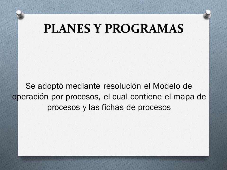 PLANES Y PROGRAMAS Se adoptó mediante resolución el Modelo de operación por procesos, el cual contiene el mapa de procesos y las fichas de procesos
