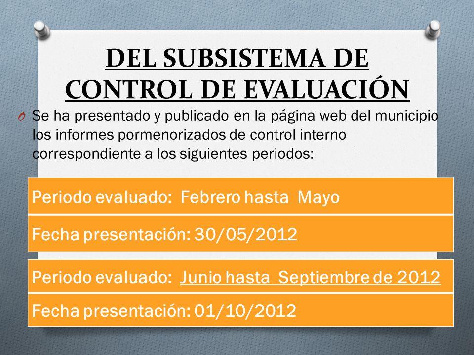 DEL SUBSISTEMA DE CONTROL DE EVALUACIÓN O Se ha presentado y publicado en la página web del municipio los informes pormenorizados de control interno c