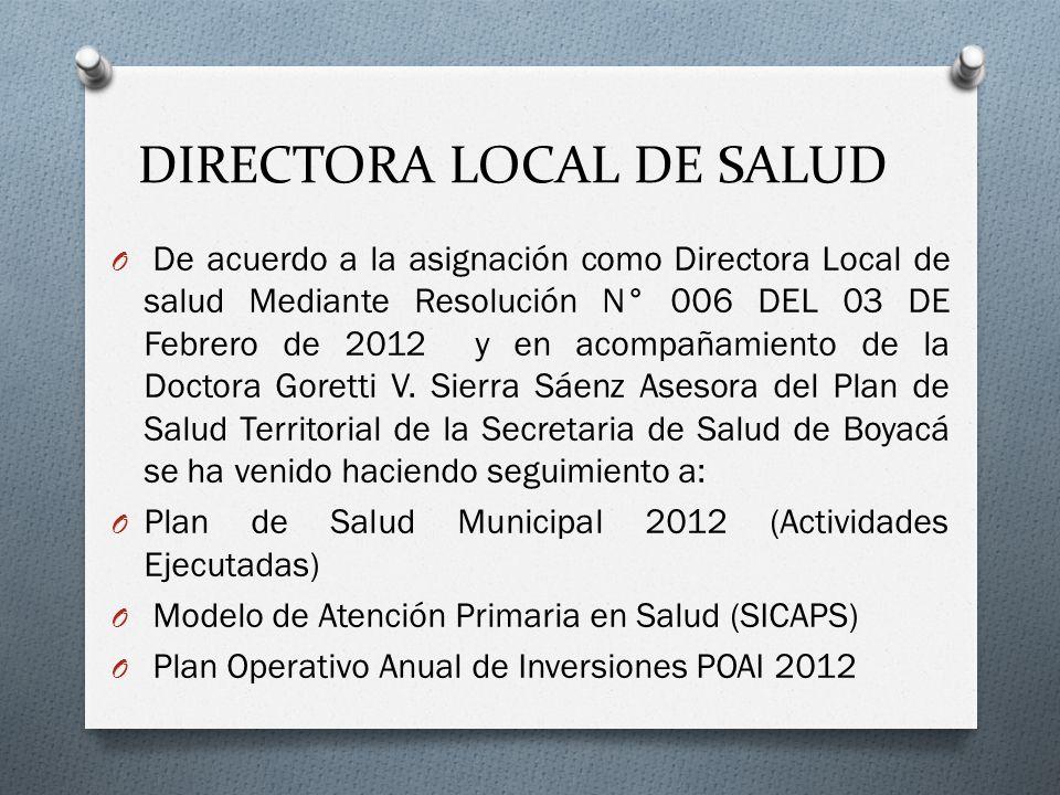 DIRECTORA LOCAL DE SALUD O De acuerdo a la asignación como Directora Local de salud Mediante Resolución N° 006 DEL 03 DE Febrero de 2012 y en acompañamiento de la Doctora Goretti V.
