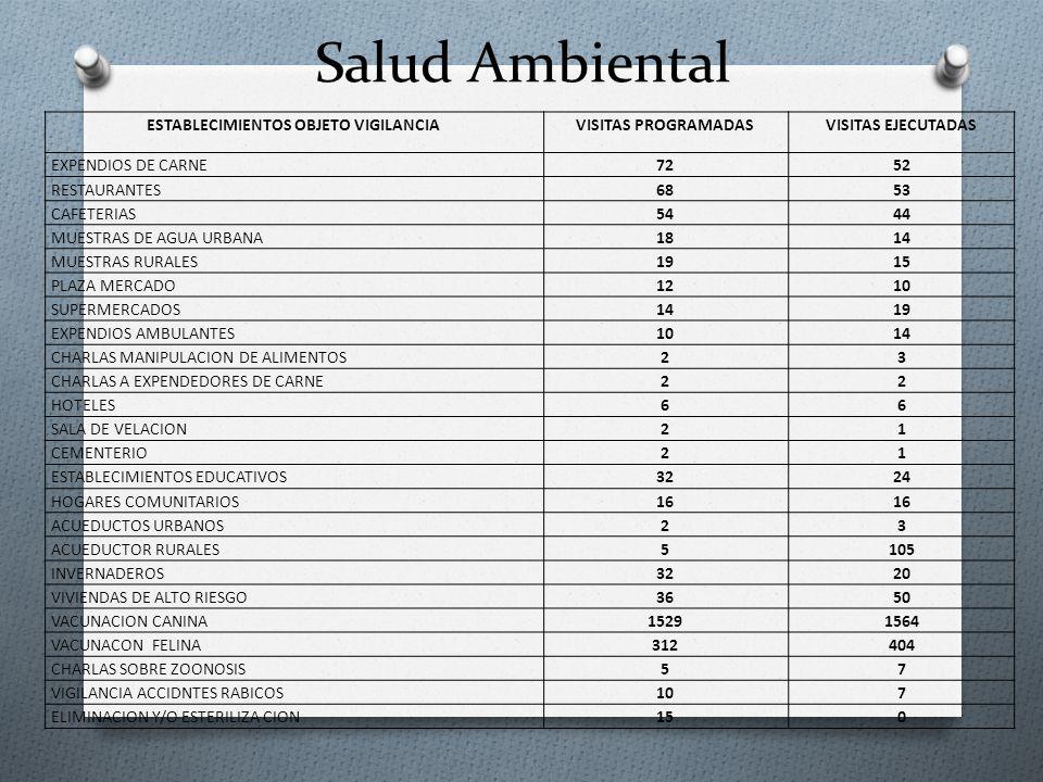 Salud Ambiental ESTABLECIMIENTOS OBJETO VIGILANCIAVISITAS PROGRAMADASVISITAS EJECUTADAS EXPENDIOS DE CARNE7252 RESTAURANTES6853 CAFETERIAS5444 MUESTRA