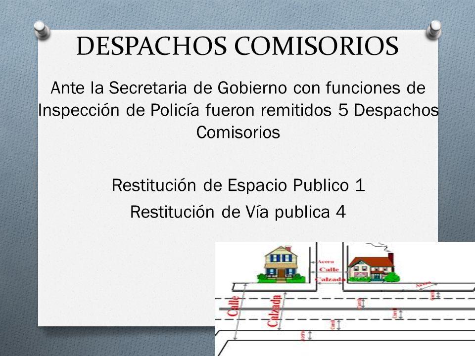 DESPACHOS COMISORIOS Ante la Secretaria de Gobierno con funciones de Inspección de Policía fueron remitidos 5 Despachos Comisorios Restitución de Espa
