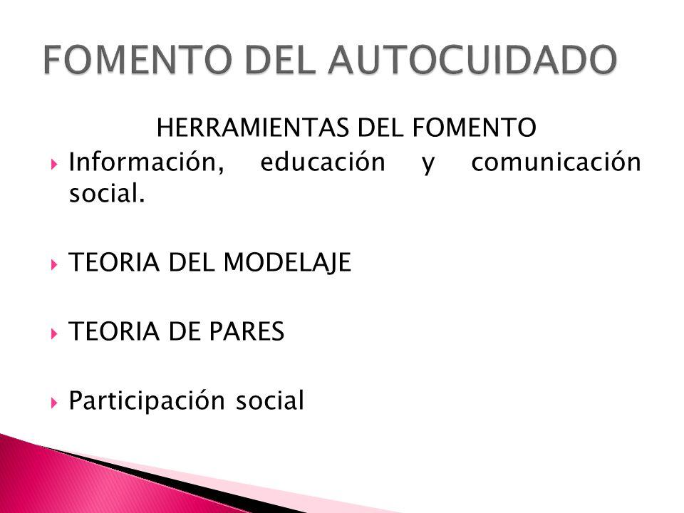 HERRAMIENTAS DEL FOMENTO Información, educación y comunicación social. TEORIA DEL MODELAJE TEORIA DE PARES Participación social