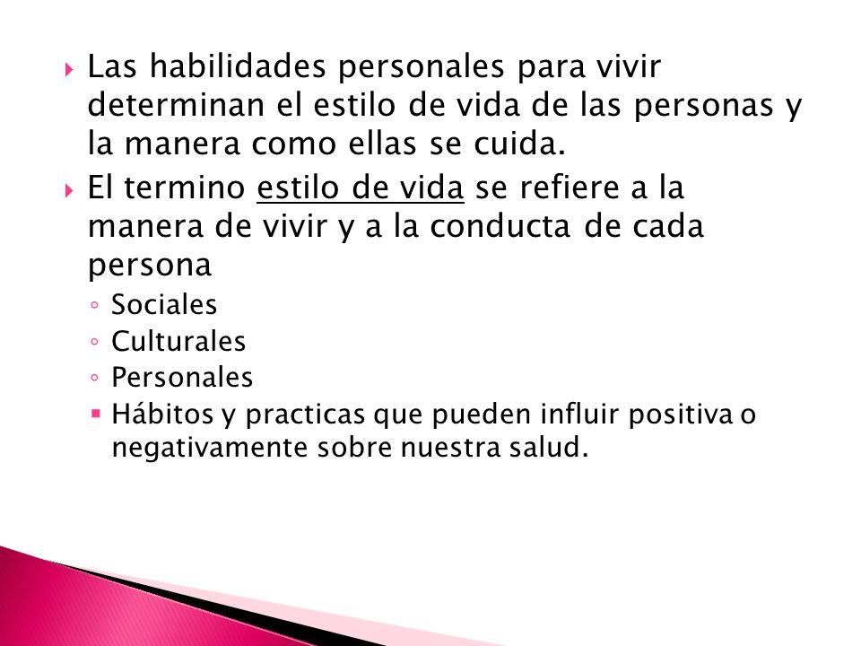Las habilidades personales para vivir determinan el estilo de vida de las personas y la manera como ellas se cuida. El termino estilo de vida se refie
