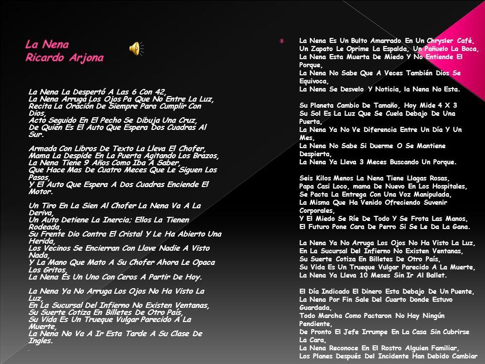La Nena La Despertó A Las 6 Con 42, La Nena Arruga Los Ojos Pa Que No Entre La Luz, Recita La Oración De Siempre Para Cumplir Con Dios, Acto Seguido En El Pecho Se Dibuja Una Cruz, De Quien Es El Auto Que Espera Dos Cuadras Al Sur.