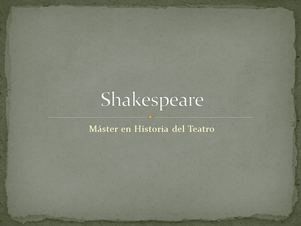 Máster en Historia del Teatro