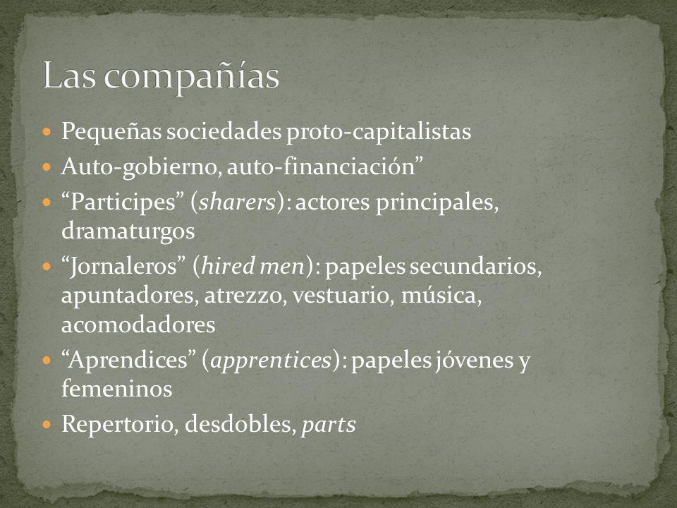 Pequeñas sociedades proto-capitalistas Auto-gobierno, auto-financiación Participes (sharers): actores principales, dramaturgos Jornaleros (hired men):