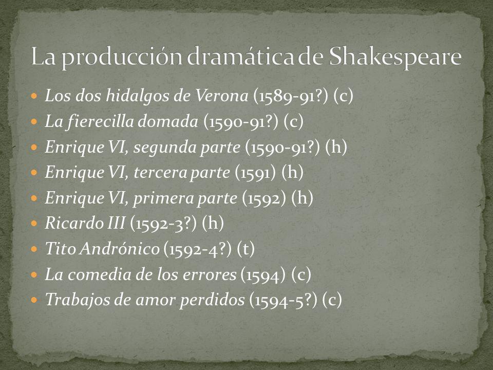 Los dos hidalgos de Verona (1589-91?) (c) La fierecilla domada (1590-91?) (c) Enrique VI, segunda parte (1590-91?) (h) Enrique VI, tercera parte (1591