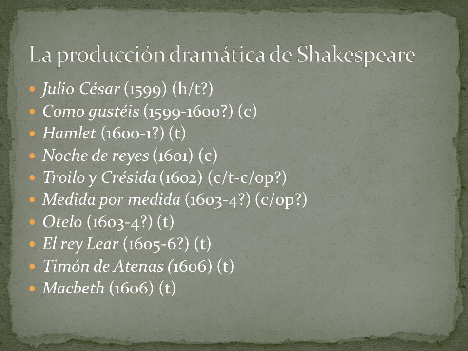 Julio César (1599) (h/t?) Como gustéis (1599-1600?) (c) Hamlet (1600-1?) (t) Noche de reyes (1601) (c) Troilo y Crésida (1602) (c/t-c/op?) Medida por