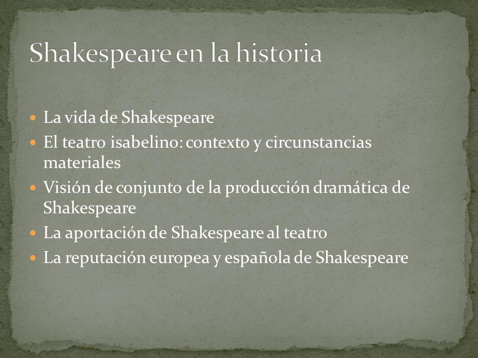 La vida de Shakespeare El teatro isabelino: contexto y circunstancias materiales Visión de conjunto de la producción dramática de Shakespeare La aport