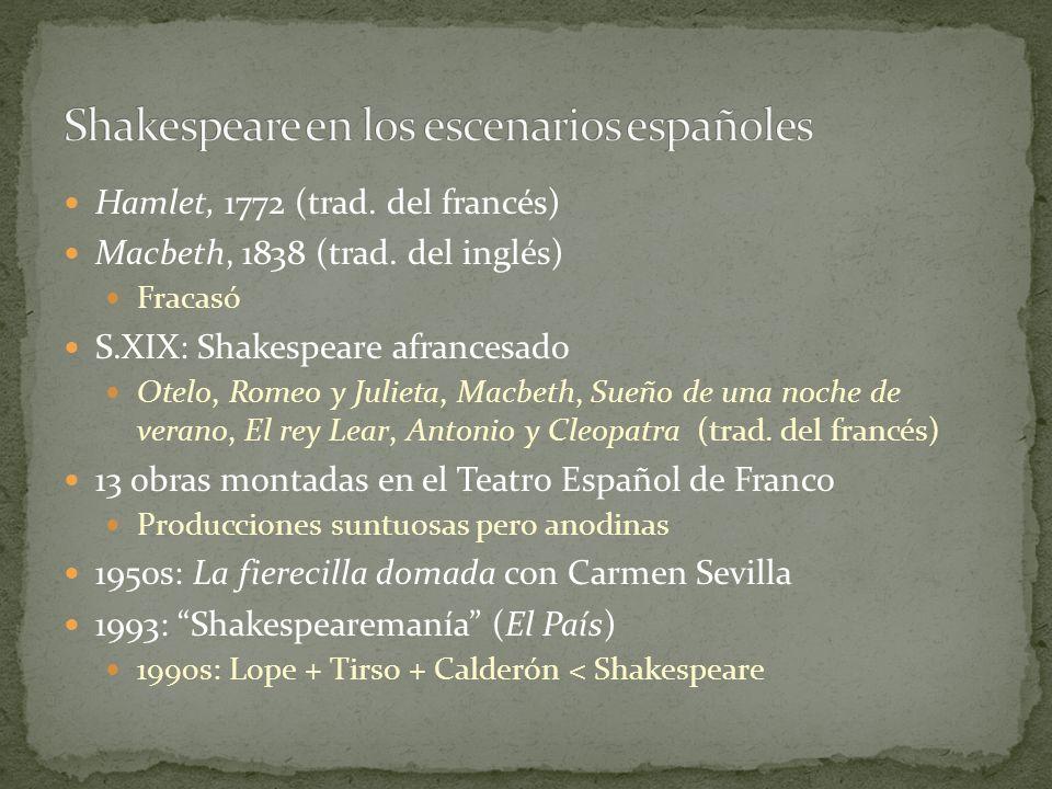 Hamlet, 1772 (trad. del francés) Macbeth, 1838 (trad. del inglés) Fracasó S.XIX: Shakespeare afrancesado Otelo, Romeo y Julieta, Macbeth, Sueño de una