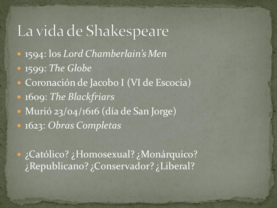 1594: los Lord Chamberlains Men 1599: The Globe Coronación de Jacobo I (VI de Escocia) 1609: The Blackfriars Murió 23/04/1616 (día de San Jorge) 1623: