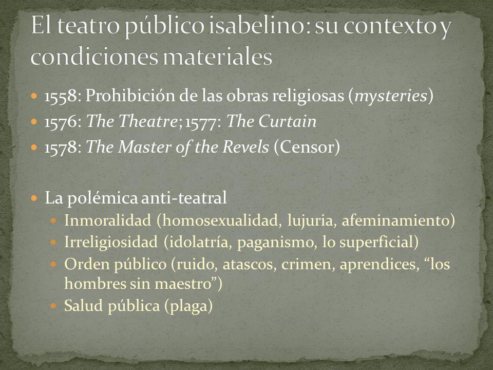 1558: Prohibición de las obras religiosas (mysteries) 1576: The Theatre; 1577: The Curtain 1578: The Master of the Revels (Censor) La polémica anti-te