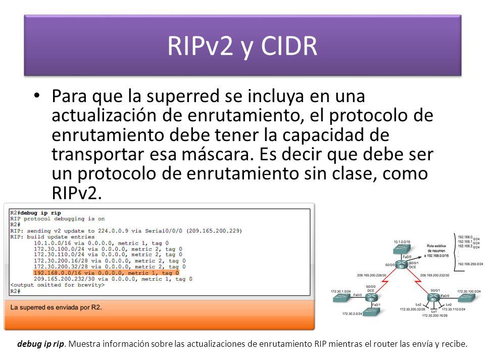 RIPv2 y CIDR Para que la superred se incluya en una actualización de enrutamiento, el protocolo de enrutamiento debe tener la capacidad de transportar