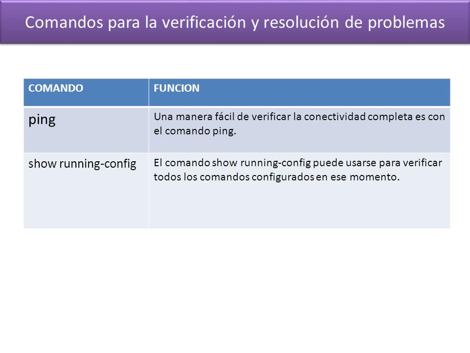 Comandos para la verificación y resolución de problemas COMANDOFUNCION ping Una manera fácil de verificar la conectividad completa es con el comando p