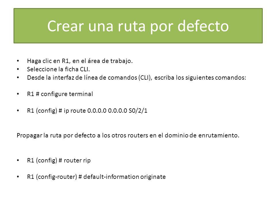 Crear una ruta por defecto Haga clic en R1, en el área de trabajo. Seleccione la ficha CLI. Desde la interfaz de línea de comandos (CLI), escriba los