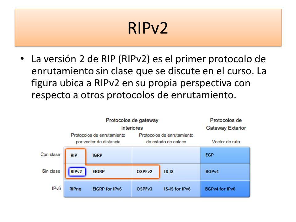 RIPv2 La versión 2 de RIP (RIPv2) es el primer protocolo de enrutamiento sin clase que se discute en el curso. La figura ubica a RIPv2 en su propia pe