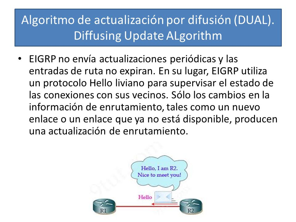 Algoritmo de actualización por difusión (DUAL). Diffusing Update ALgorithm EIGRP no envía actualizaciones periódicas y las entradas de ruta no expiran