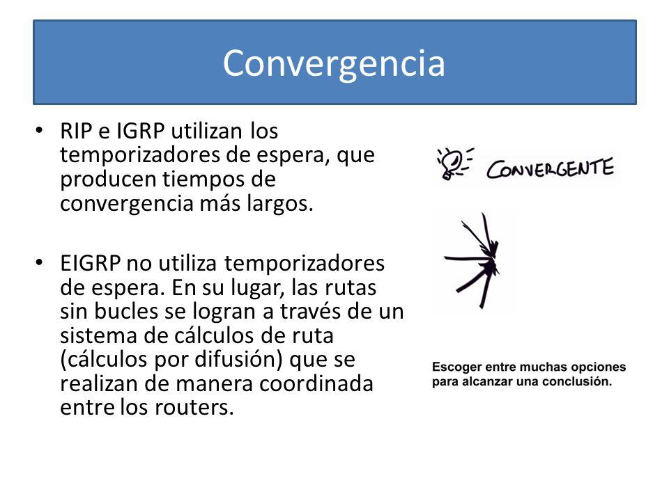 Convergencia RIP e IGRP utilizan los temporizadores de espera, que producen tiempos de convergencia más largos. EIGRP no utiliza temporizadores de esp