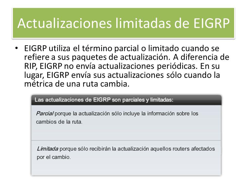 Actualizaciones limitadas de EIGRP EIGRP utiliza el término parcial o limitado cuando se refiere a sus paquetes de actualización. A diferencia de RIP,