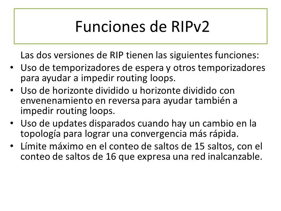 Funciones de RIPv2 Las dos versiones de RIP tienen las siguientes funciones: Uso de temporizadores de espera y otros temporizadores para ayudar a impe