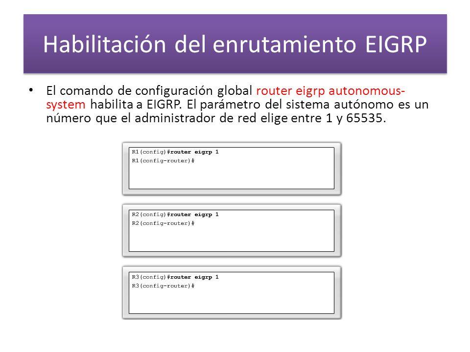 Habilitación del enrutamiento EIGRP El comando de configuración global router eigrp autonomous- system habilita a EIGRP. El parámetro del sistema autó