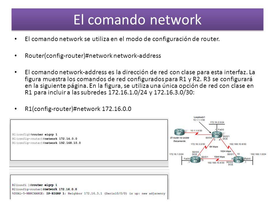El comando network El comando network se utiliza en el modo de configuración de router. Router(config-router)#network network-address El comando netwo